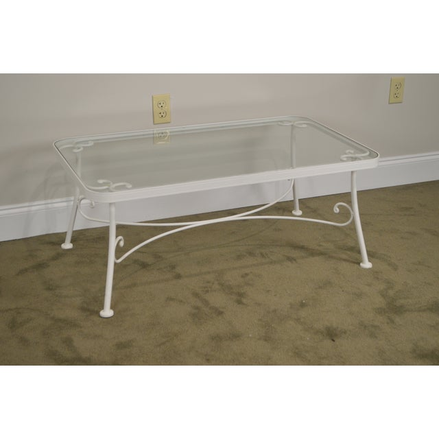 Traditional Woodard for Crown Leisure White Wrought Iron Glass Top Patio Coffee Table For Sale - Image 3 of 13