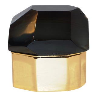 Toso Italian Modern Diamond-Shaped Smoked Gray Murano Glass & Brass Jewel Box - in Showroom For Sale