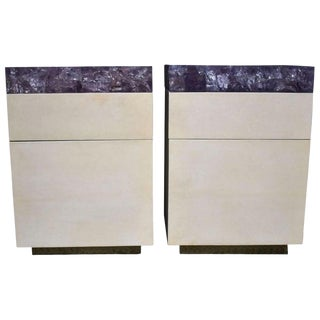 Pair of Parchment Nightstands With Ice Cracked Resin Tops For Sale