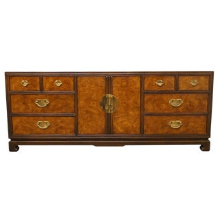 Late 20th Century Drexel Tai Ming Collection Asian Chinoiserie Triple Door Dresser For Sale
