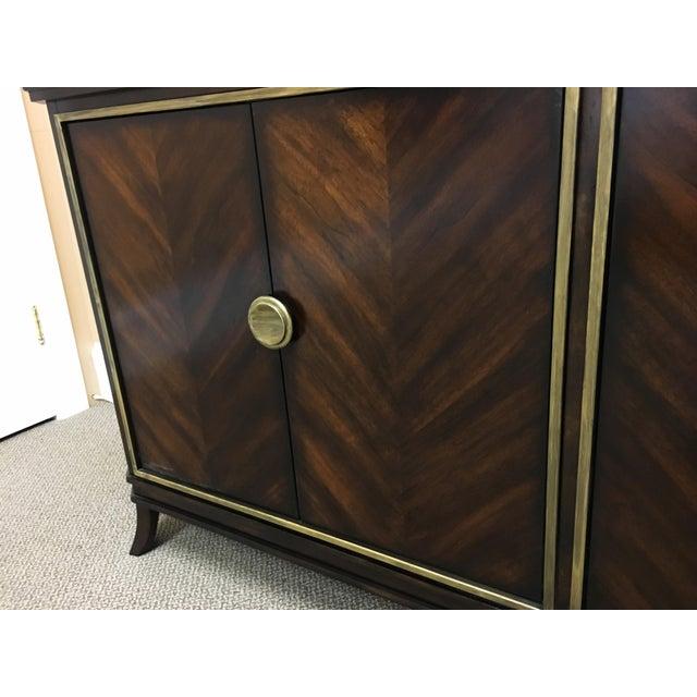 Sleek Funky Herringbone Wooden Sideboard For Sale - Image 4 of 9