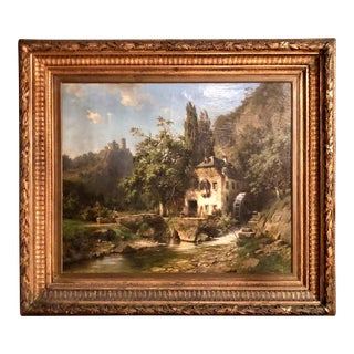 Antique 19th Century European Landscape With Windmill Oil Painting by Noted Artist Joseph Jansen. For Sale
