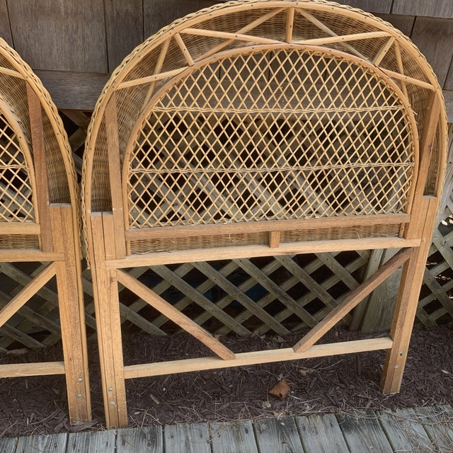 Vintage Wicker Headboards- a Pair For Sale In Washington DC - Image 6 of 13