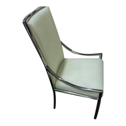 1960s Hollywood Regency Milo Baughman Chrome & Upholstered High Back Chair For Sale
