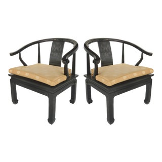 Lacquered James Mont Style Arm Chairs from Century Furniture - A Pair For Sale