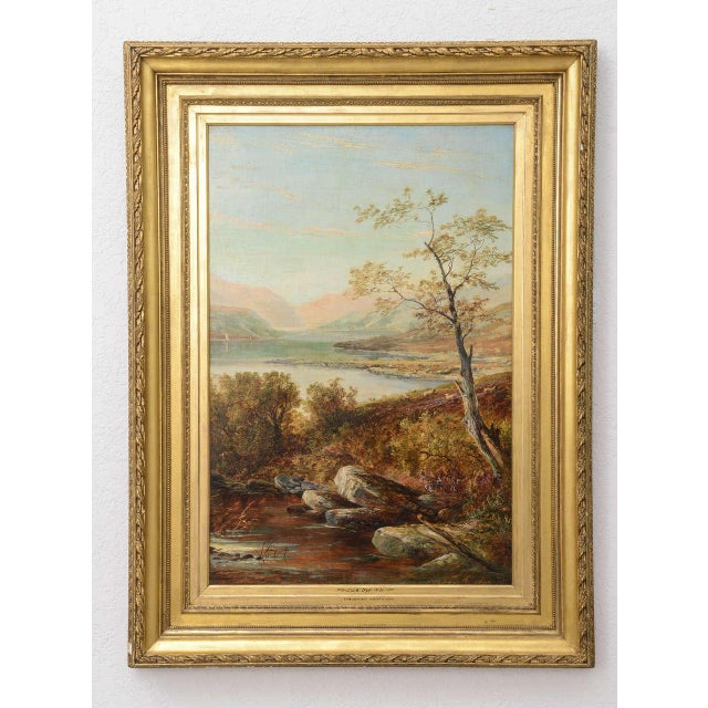 """Country 19th Century Oil on Board Painting, """"Loch Tyt N. B."""": Thomas Hines For Sale - Image 3 of 11"""