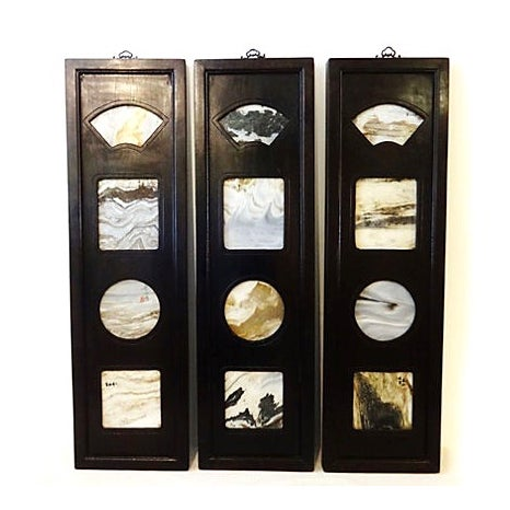Black Chinese Framed Dream Stones - Set of 3 For Sale - Image 8 of 8