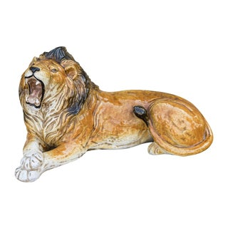 Italian Terra-Cotta Glazed Roaring & Crouching Lion, Made in Italy For Sale