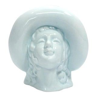 Art Deco Ceramic Lady & Hat Vase For Sale