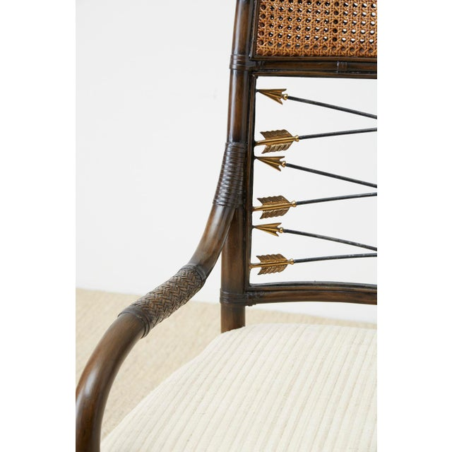 Metal Set of Four Neoclassical Style Rattan Dining Armchairs For Sale - Image 7 of 13