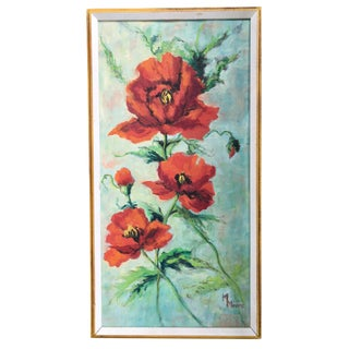 Framed Painting of Red Poppies For Sale