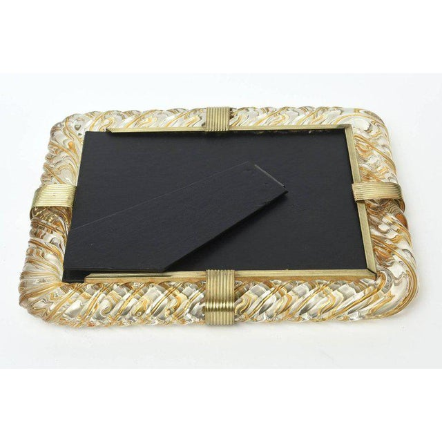 Gold Italian Murano Vintage Glass and Brass Picture Frame For Sale - Image 8 of 11