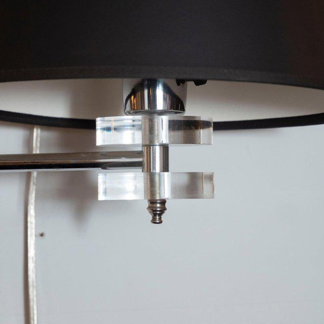 Mid-Century Modern Polished Chrome and Lucite Swing Arm Sconces - a Pair For Sale In New York - Image 6 of 9