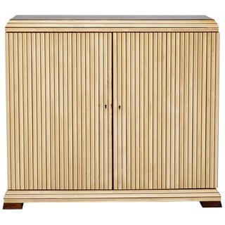 Reeded Maple Cabinet with Rosewood Trim and Black Glass