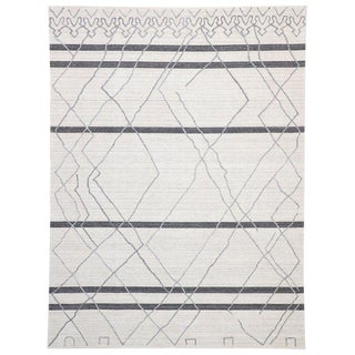 Contemporary Gray Modern Moroccan Style Area Rug - 9′10″ × 11′10″ For Sale