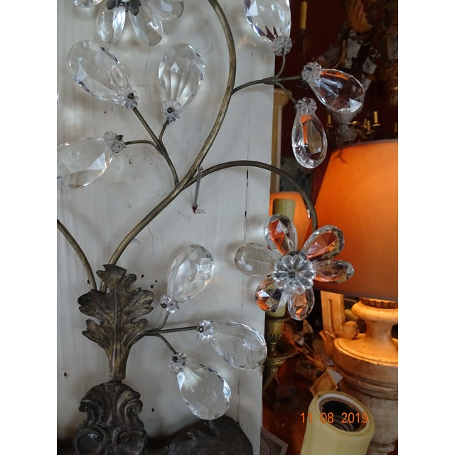 Pair of 19th Century Italian Crystal Sconces For Sale - Image 9 of 12