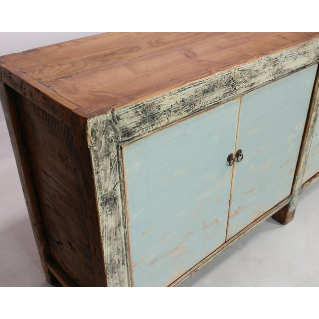 Chinese Blue Distressed Antique Gansu Sideboard For Sale - Image 3 of 3