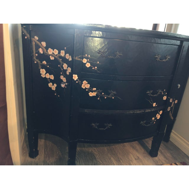 Asian Jardin en Fleur Distressed Black Finish Asian Art Deco Bombay Dresser For Sale - Image 3 of 8
