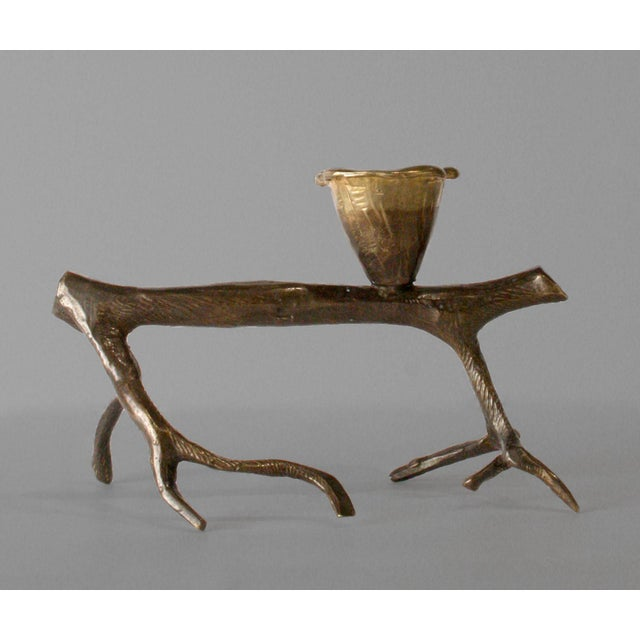 "Robert Lee Morris ""Horizontal Walking Tree Candle Holders"", 1990s brass. Signed."