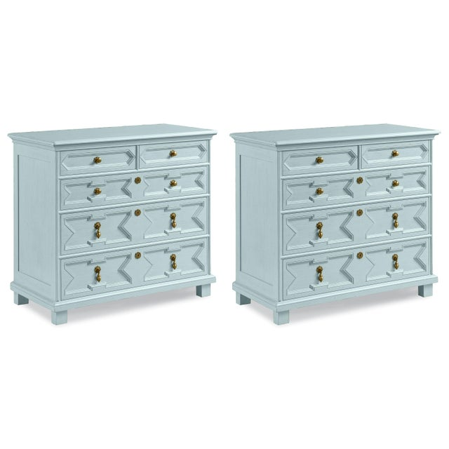 Not Yet Made - Made To Order James Chest of Drawers in Palladian Blue - a Pair For Sale - Image 5 of 5