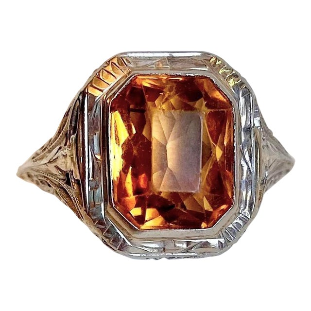 Antique 18k White Gold and Citrine Ring For Sale