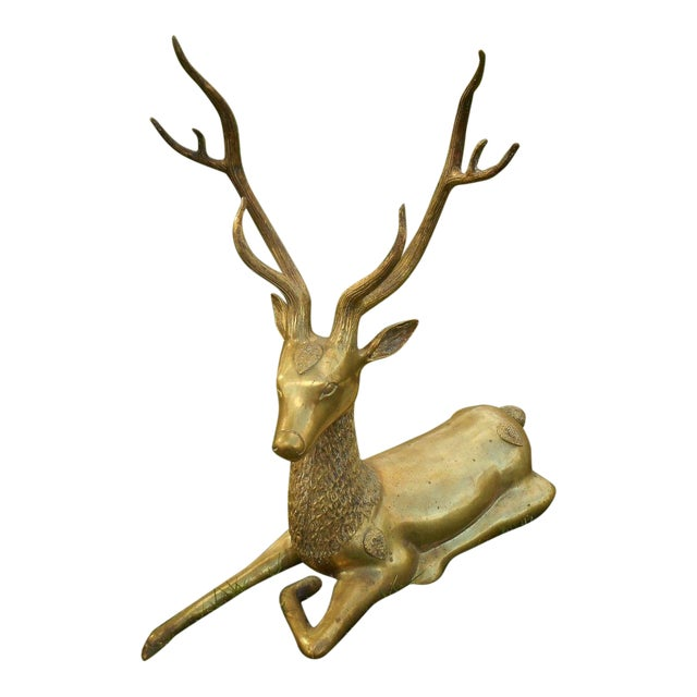 Mid-Century Stag Deer Brass Statue - Image 1 of 8