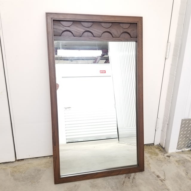 Brown Mid-Century Sculptural Walnut Wall Mirror For Sale - Image 8 of 8