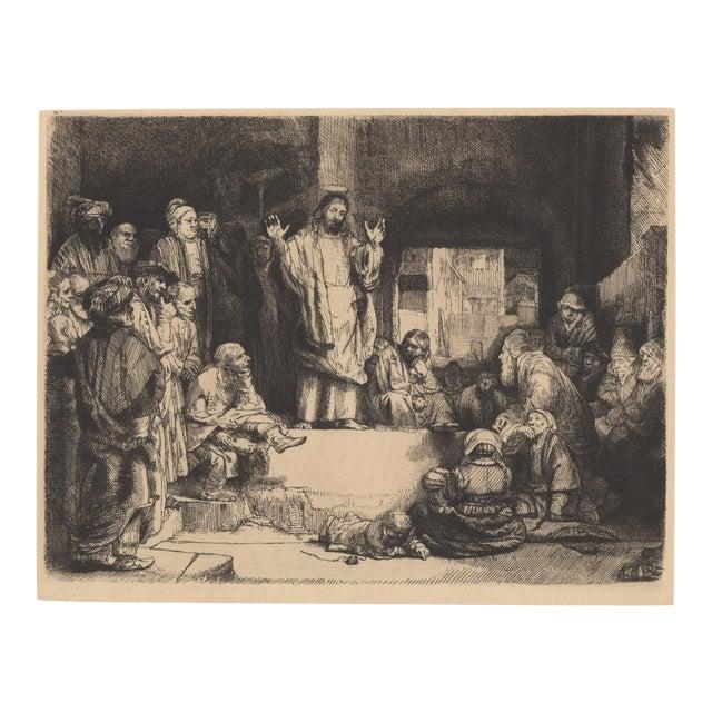 "After Rembrandt 20th c. Christ Preaching ""La Petite Tomb"" Heliogravure For Sale"