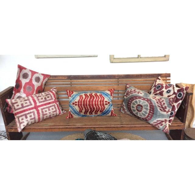 Handloomed Silk Velvet Ikat Pillow - Image 4 of 4