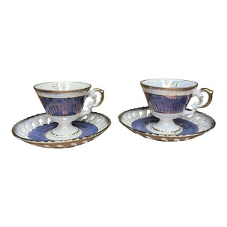 Vintage Blue and Pearlescent Tea Set For Sale