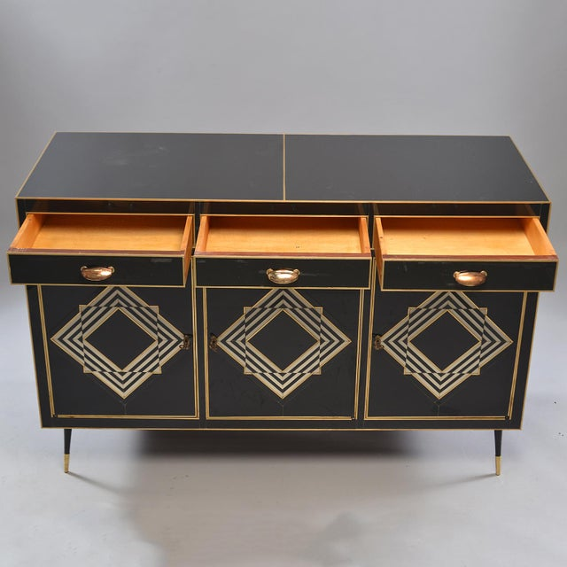 Op Art Murano Black and White Glass Clad Chest of Drawers With Brass Hardware For Sale - Image 10 of 13