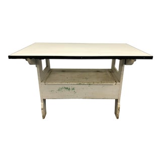 Vintage White Country Farm Table / Convertible Storage Bench For Sale