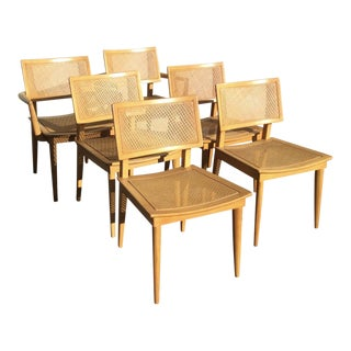 Heywood Wakefield Press Cane Weave Dining Chairs - Set of 6