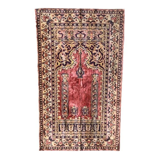 Antique Turkish Silk Ghiordes Prayer Rug For Sale