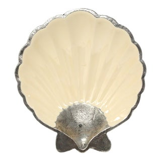 Vintage Enameled Cast Metal Scallop Shell Bowl For Sale