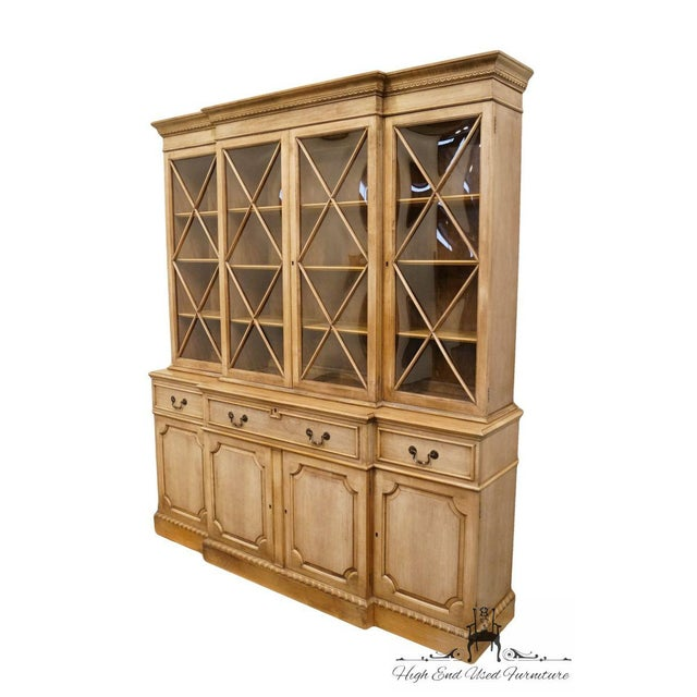 """Saginaw Furniture Country French Regency 72"""" Secretary Display China Cabinet - Bubble Glass 5377 Dimensions: 82.5″ High..."""