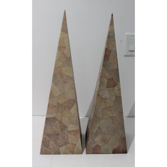 Vintage Maitland-Smith Shagreen Obelisks - a Set of 2 For Sale - Image 9 of 11