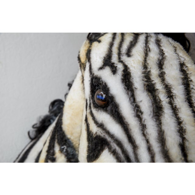 American Classical Artisan Sculpture of Zebra Using Faux Materials For Sale - Image 3 of 9