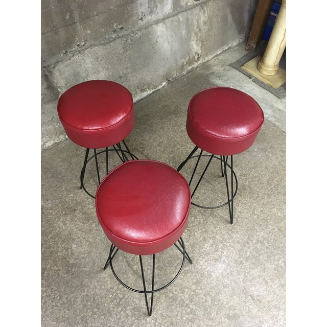 Metal Mid Century Iron Bar Stools- Set of 3 For Sale - Image 7 of 10