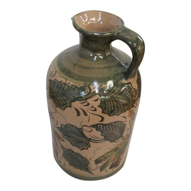 Sarreid Leaves and Asparagus Ceramic Painted Pitcher For Sale