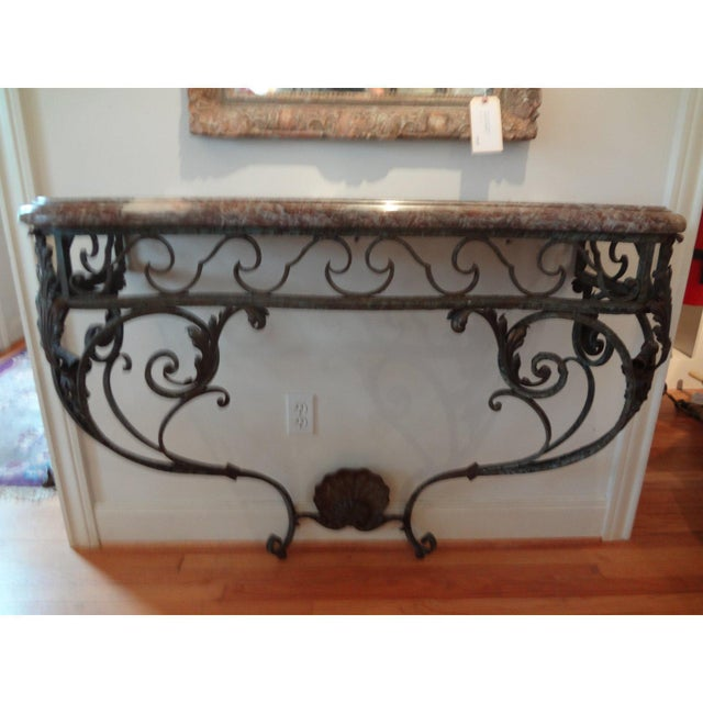 Metal Early 19th Century French Regence Wrought Iron Console Table With Marble Top For Sale - Image 7 of 11
