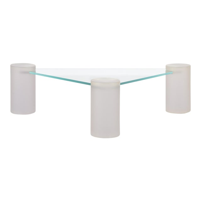 Glass Sculptural Coffee Table Attributed to Lion in Frost For Sale