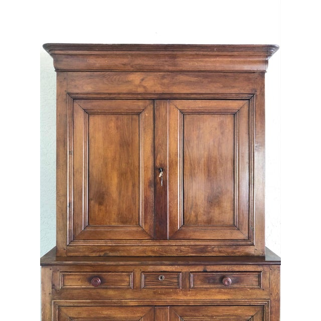 Brown French 19th Century Walnut Deux Corps Buffet Cabinet For Sale - Image 8 of 13