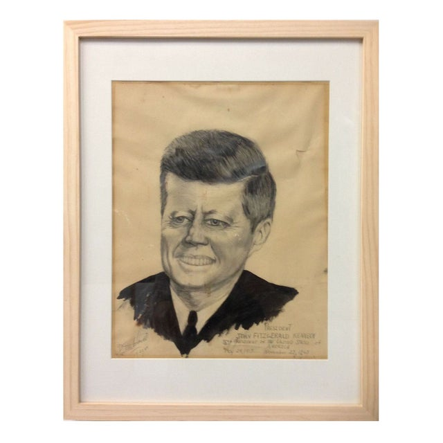 JFK Folk Art Portrait For Sale