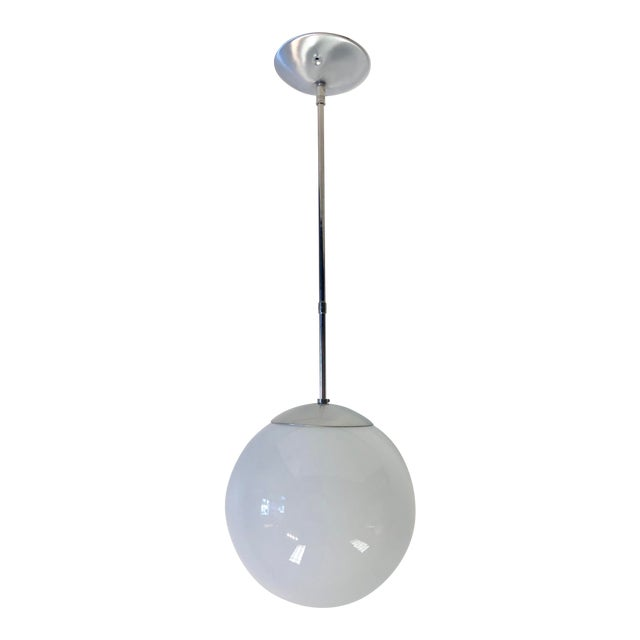 Mid-Century Chrome Oversized Globe Pendant For Sale