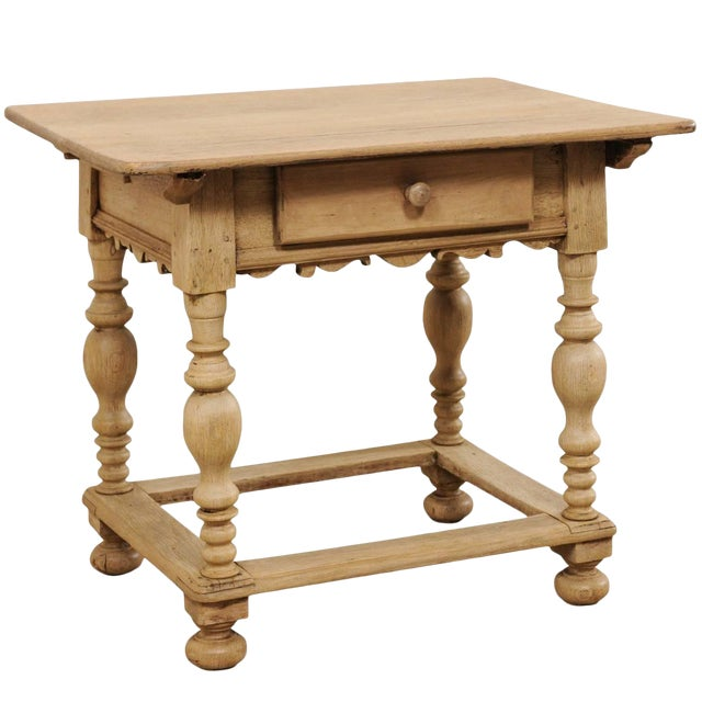 18th Century Swedish Period Baroque Wood Side Table on Turned Legs For Sale