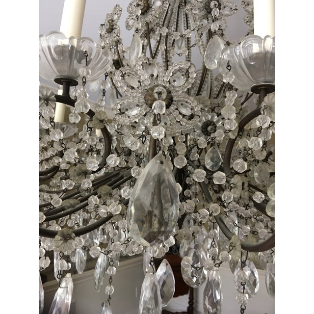 Italian Late 20th Century Italian Copper and Crystal 12 Light Chandelier For Sale - Image 3 of 5