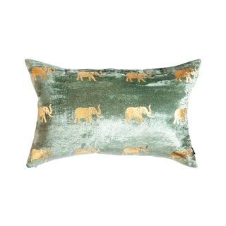 Meru Sea Foam Green Velvet Lumbar Pillow With Elephants For Sale