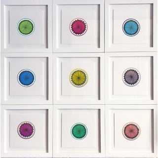 Natasha Mistry Minimalist Geometric Ink Drawings - Set of 9 For Sale