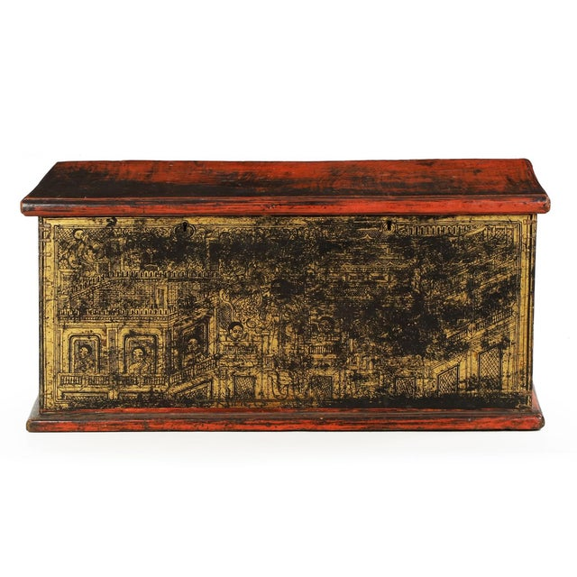 Antique Chinese Red and Gold Blanket Chest, 19th C - Image 2 of 10